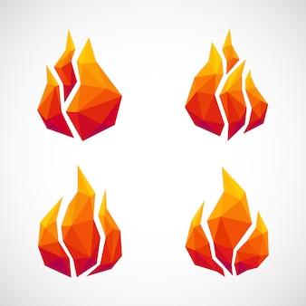 Icônes de feu low poly.