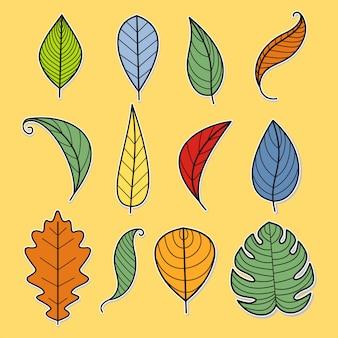 Icônes de feuilles sur fond jaune. illustration vectorielle