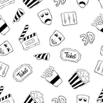 Icônes de film ou de cinéma dans un modèle sans couture avec le style de doodle