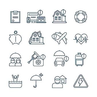 Icônes de fine ligne d'assurance vie, habitation et voiture
