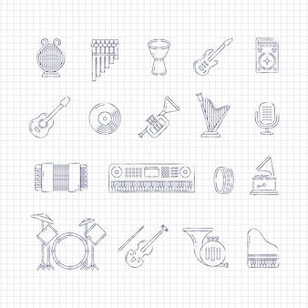 Icônes de fine ligne d'instruments de concert de musique