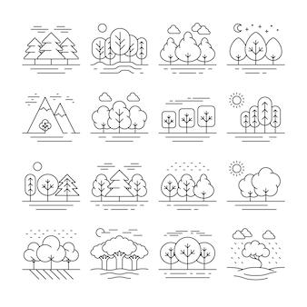 Icônes de fine ligne paysage forestier nature. arbre plante et montagne