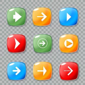 Icônes de flèche définies pour la conception web.