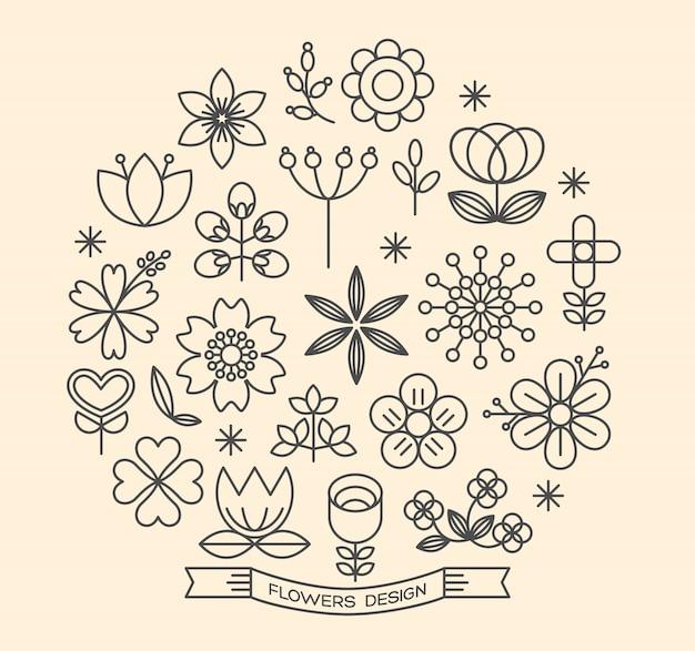 Icônes de fleur décrivent le vecteur de style