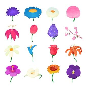 Icônes de fleurs définies dans vecteur de style de dessin animé isolé
