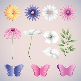 Icônes de fleurs et de papillons