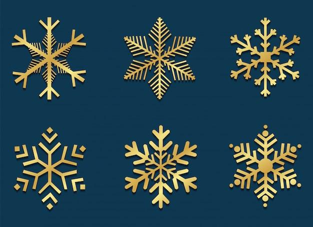 Icônes de flocon de neige or