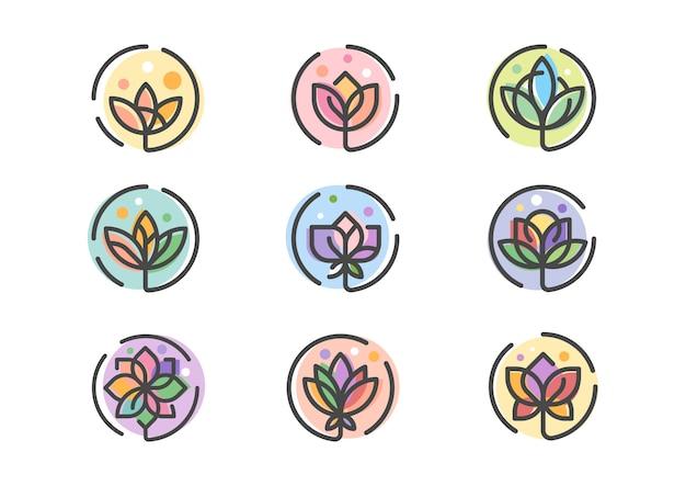 Icônes florales colorées abstraites