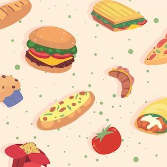 Icônes de fond de modèle de nourriture à la maison