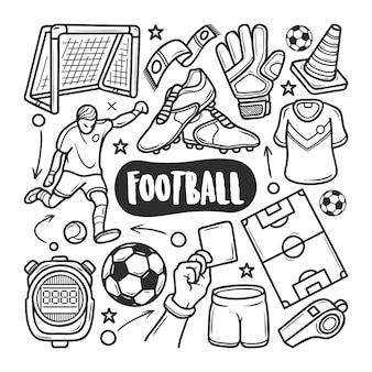 Icônes de football doodle dessiné à la main à colorier