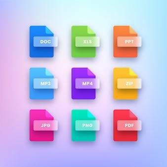 Icônes de format de type de fichier