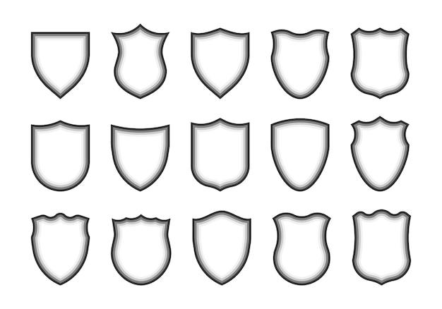 Icônes de forme de bouclier. boucliers héraldiques. protégez, armes.