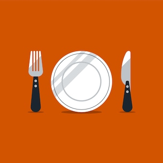 Icônes de fourchette et couteau, concept de l'heure du déjeuner,