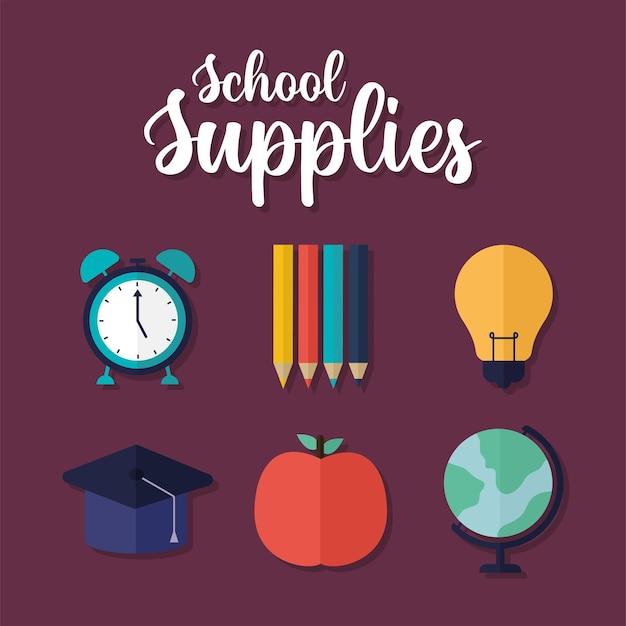 Icônes de fournitures scolaires et lettrage de fournitures scolaires