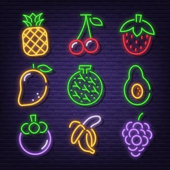 Icônes de fruits au néon