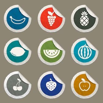 Icônes de fruits définies pour les sites web et l'interface utilisateur