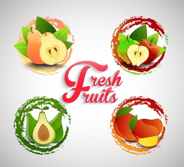 Icônes de fruits frais