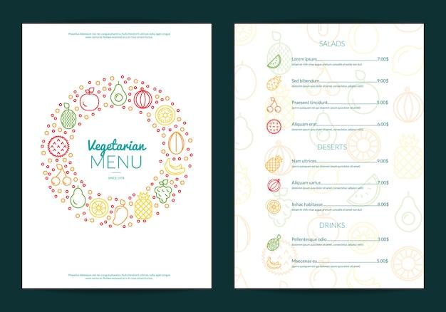Icônes de fruits ligne illustration de modèle de menu café ou restaurant végétalien