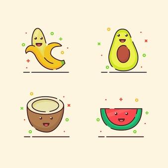 Icônes de fruits set collection banane avocat noix de coco melon d'eau mascotte mignonne visage émotion heureux fruit avec couleur