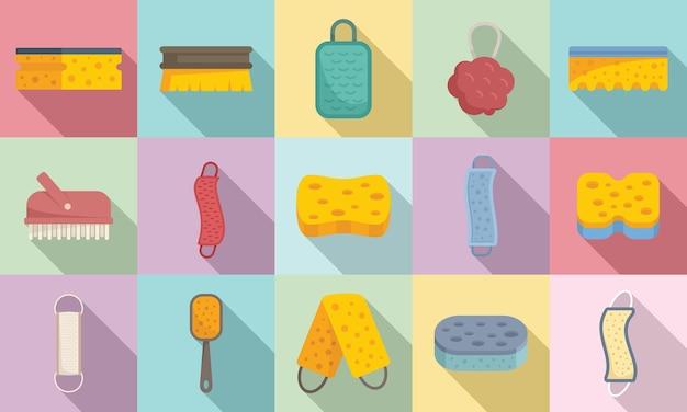 Les icônes de gant de toilette définissent un vecteur plat. salle de bain en fibre wisp. laver le gant de toilette