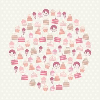 Icônes de gâteaux sur illustration vectorielle fond beige