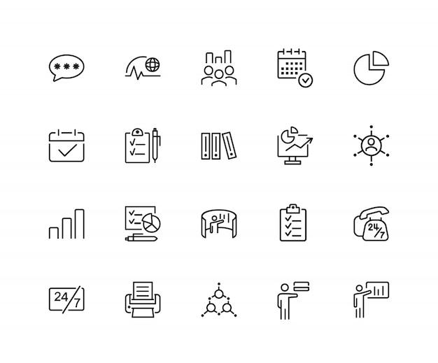 Icônes de gestion. ensemble de vingt icônes de ligne. date limite, recrutement, calendrier.