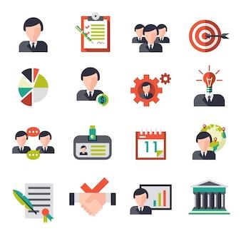 Les icônes de gestion d'entreprise sont mises en place avec des hommes d'affaires personnel de l'équipe avatars illustration vectorielle isolée