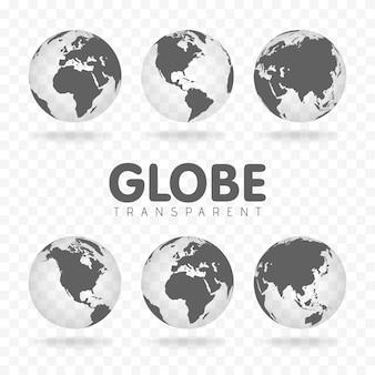Icônes de globe gris avec différents continents