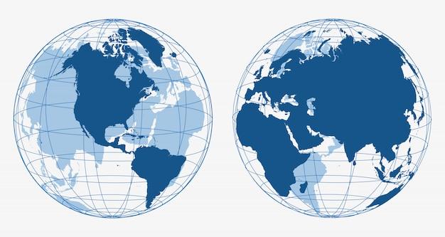 Icônes de globe terrestre 3d