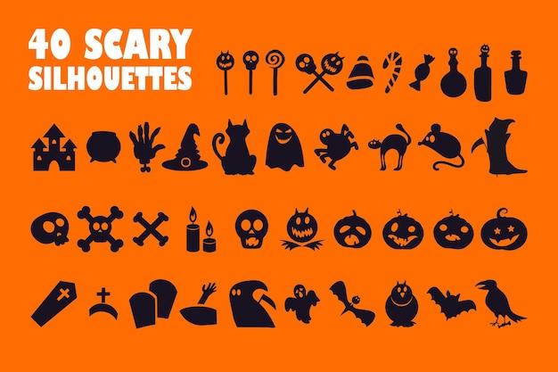 Icônes de glyphe noir halloween sur un espace blanc. symboles de silhouette mystique. chauve-souris, croix, crâne, bougie, corbeau. citrouilles folles et fantômes effrayants. illustration vectorielle isolée