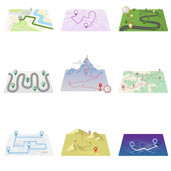 Icônes gps et carte d'itinéraire sur fond blanc