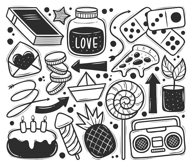 Icônes de gribouillis abstraits dessinés à la main à colorier doodle