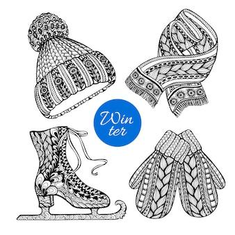 Icônes de griffonnage écharpe mitaines patins décoratifs