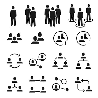 Icônes de groupe de réseau. communauté sociale, structure d'équipe commerciale, icône de communication de personnes. ajouter un membre à l'ensemble de vecteurs de réunion des employés. connexion de communication de communauté d'illustration, personnes de mise en réseau