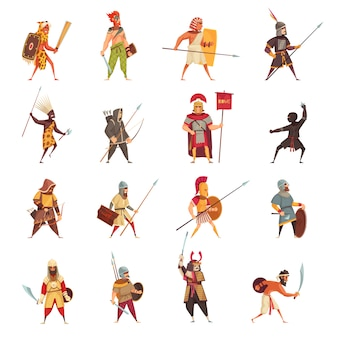 Icônes de guerriers anciens sertis d'armes et d'équipement plat isolé