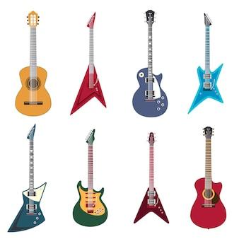 Icônes de guitares. guitares acoustiques et illustration de guitare électrique
