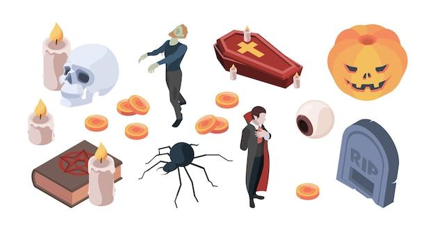 Icônes d'halloween. articles pour les symboles d'halloween traditionnels effrayants de la fête des zombies vecteur ensemble isométrique. illustration de la magie et de l'horreur d'halloween