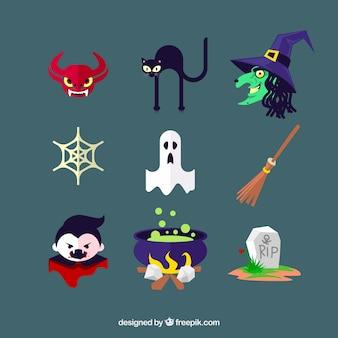 Icônes de halloween avec des caractères et des éléments typiques