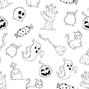 Icônes de halloween heureux modèle sans couture avec style dessiné à la main