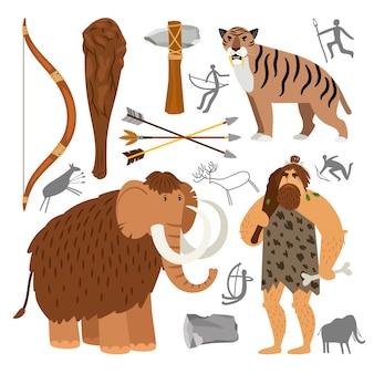 Icônes de l'homme des cavernes homme de pierre de néandertal