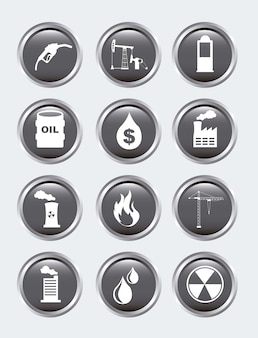 Icônes d'huile sur illustration vectorielle fond gris