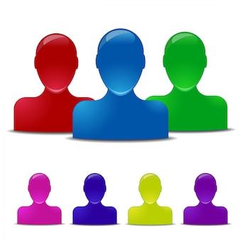 Icônes humaines colorées