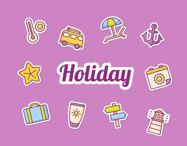 Icônes d'icônes d'autocollant d'été mis ensemble d'icônes d'icônes d'autocollant d'été de paquet de collection ensemble d'icônes de collection violet