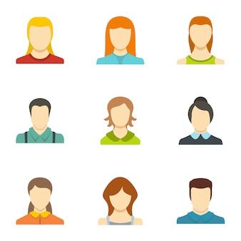 Icônes d'identité définies. ensemble plat de 9 icônes de vecteur d'identité