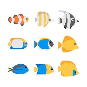 Icônes d'illustration de poissons de mer tropicaux mignons