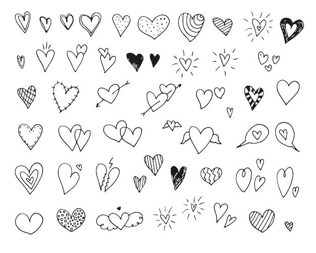 Icônes et illustrations de coeur dessinés à la main