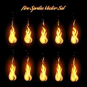 Icônes d'images d'animation de feu
