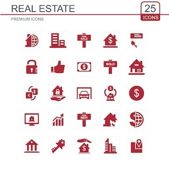 Icônes de l'immobilier mis en rouge