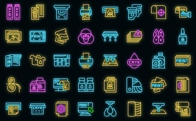Icônes d'impression numérique définies néon vectoriel
