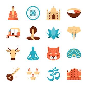 Icônes de l'inde définies dans un style plat